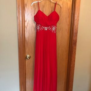 Red formal dress with rhinestones